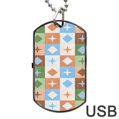 Fabric Textile Textures Cubes Dog Tag Usb Flash (two Sides) by Nexatart