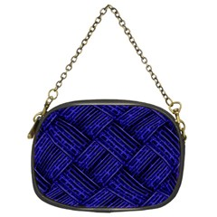 Cobalt Blue Weave Texture Chain Purses (two Sides)  by Nexatart