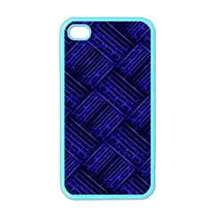 Cobalt Blue Weave Texture Apple Iphone 4 Case (color) by Nexatart