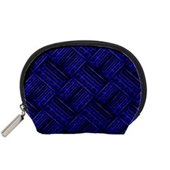 Cobalt Blue Weave Texture Accessory Pouches (small)