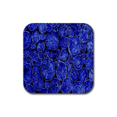 Neon Abstract Cobalt Blue Wood Rubber Square Coaster (4 Pack)  by Nexatart