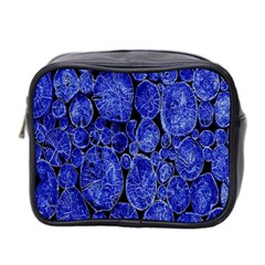 Neon Abstract Cobalt Blue Wood Mini Toiletries Bag 2 Side by Nexatart