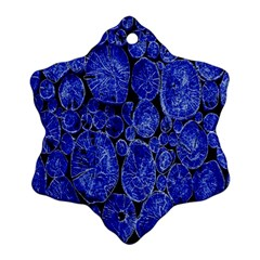 Neon Abstract Cobalt Blue Wood Ornament (snowflake)