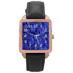 Neon Abstract Cobalt Blue Wood Rose Gold Leather Watch