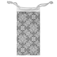 Black And White Oriental Ornate Jewelry Bag by dflcprints