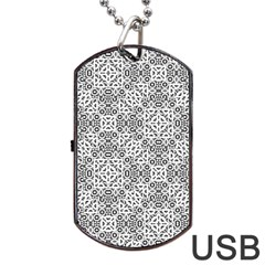 Black And White Oriental Ornate Dog Tag Usb Flash (one Side) by dflcprints