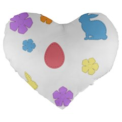 Easter Patches  Large 19  Premium Heart Shape Cushions by Valentinaart