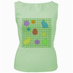 Easter Patches  Women s Green Tank Top