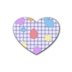 Easter Patches  Rubber Coaster (heart)  by Valentinaart