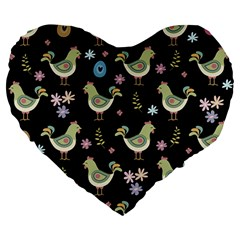 Easter Pattern Large 19  Premium Heart Shape Cushions