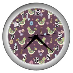 Easter Pattern Wall Clocks (silver)  by Valentinaart