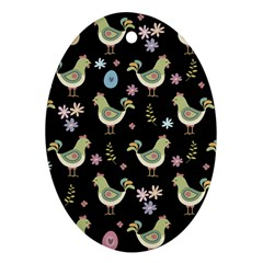 Easter Pattern Oval Ornament (two Sides)