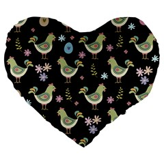 Easter Pattern Large 19  Premium Flano Heart Shape Cushions
