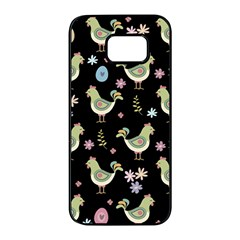 Easter Pattern Samsung Galaxy S7 Edge Black Seamless Case by Valentinaart