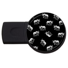 Rhino Pattern Usb Flash Drive Round (2 Gb) by Valentinaart