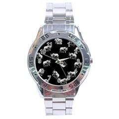 Rhino Pattern Stainless Steel Analogue Watch by Valentinaart
