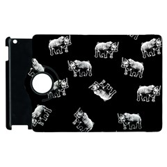 Rhino Pattern Apple Ipad 2 Flip 360 Case