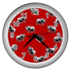 Rhino Pattern Wall Clocks (silver)  by Valentinaart