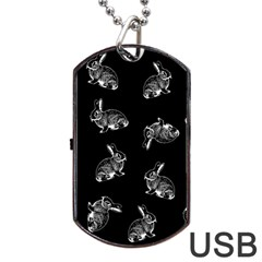 Rabbit Pattern Dog Tag Usb Flash (one Side) by Valentinaart