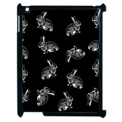 Rabbit Pattern Apple Ipad 2 Case (black) by Valentinaart