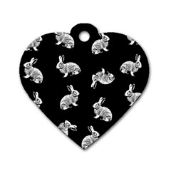 Rabbit Pattern Dog Tag Heart (one Side) by Valentinaart