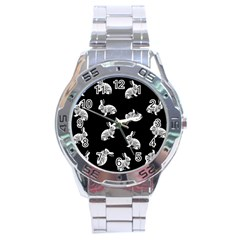 Rabbit Pattern Stainless Steel Analogue Watch