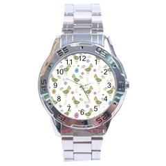 Easter Pattern Stainless Steel Analogue Watch