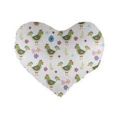 Easter Pattern Standard 16  Premium Heart Shape Cushions by Valentinaart