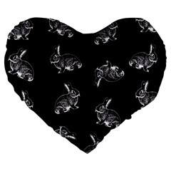 Rabbit Pattern Large 19  Premium Heart Shape Cushions