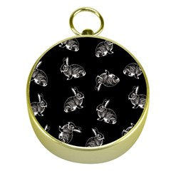 Rabbit Pattern Gold Compasses