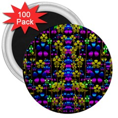 Flowers In The Most Beautiful  Dark 3  Magnets (100 Pack) by pepitasart