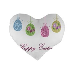 Easter Eggs Standard 16  Premium Flano Heart Shape Cushions