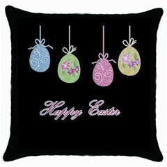 Easter Eggs Throw Pillow Case (black) by Valentinaart