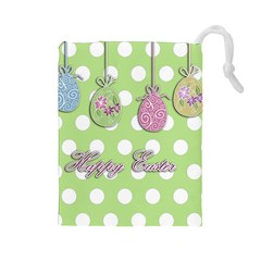 Easter Eggs Drawstring Pouches (large)