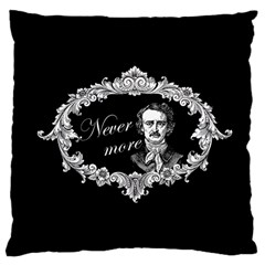 Edgar Allan Poe    Never More Large Cushion Case (one Side) by Valentinaart