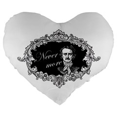Edgar Allan Poe    Never More Large 19  Premium Heart Shape Cushions by Valentinaart