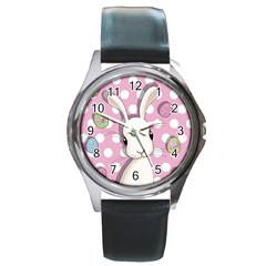 Easter Bunny  Round Metal Watch