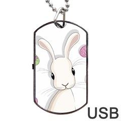 Easter Bunny  Dog Tag Usb Flash (two Sides) by Valentinaart