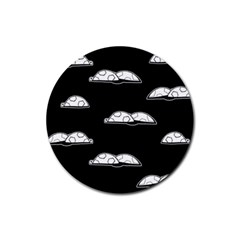 Turtle Rubber Round Coaster (4 Pack)  by ValentinaDesign