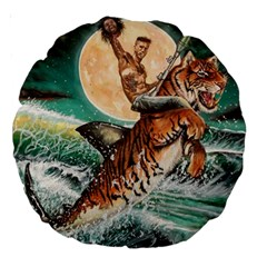 Tiger Shark Large 18  Premium Round Cushions by redmaidenart