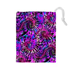 Purple Tie Dye Madness  Drawstring Pouches (large)  by KirstenStar