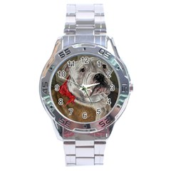 Dog Portrait Stainless Steel Analogue Watch by redmaidenart