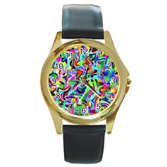 Artwork By Patrick Pattern 9 Round Gold Metal Watch