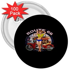 Route 66 3  Buttons (100 Pack)  by ArtworkByPatrick