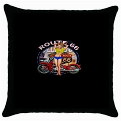 Route 66 Throw Pillow Case (black) by ArtworkByPatrick