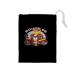 Route 66 Drawstring Pouches (medium)  by ArtworkByPatrick