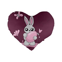 Easter Bunny  Standard 16  Premium Flano Heart Shape Cushions
