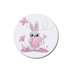 Easter Bunny  Rubber Coaster (round)  by Valentinaart