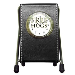Freehugs Pen Holder Desk Clocks by cypryanus
