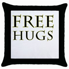 Freehugs Throw Pillow Case (black)